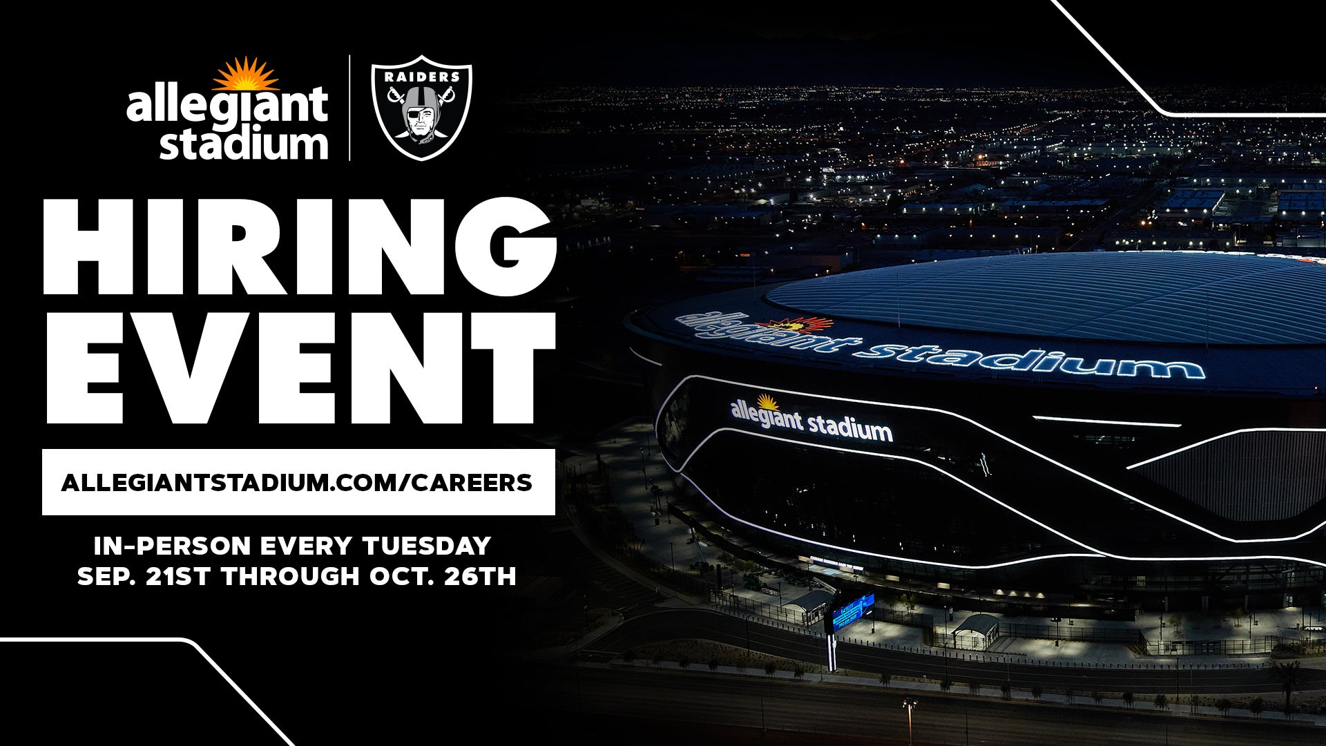 More Info for Allegiant Stadium Announces In-Person Recruitment for Las Vegas Raiders Gameday Staff Beginning September 21